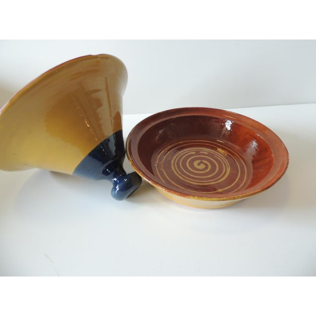 Yellow and Blue Tagine Serving Bowl For Sale - Image 4 of 6