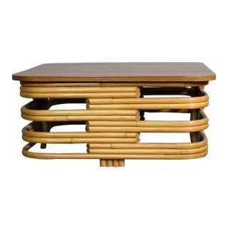 1960s Vintage Paul Frankl Bamboo Coffee Table For Sale