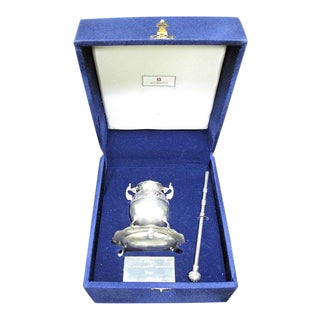 Murillo 900 Spain Silver Tea Vessel and Filter Bar Boxed Presentation Set For Sale