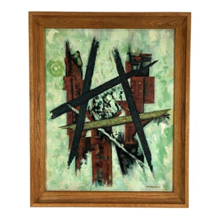 1962 Abstract Oil Painting on Board Signed Ray Gleason For Sale