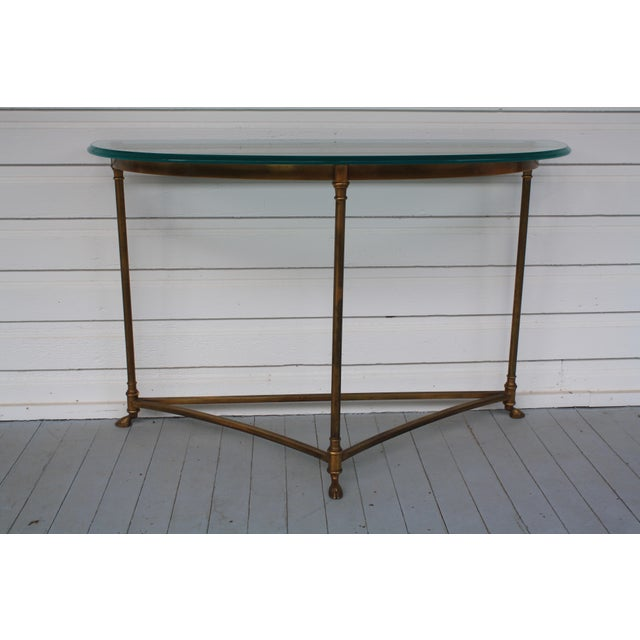 Hollywood Regency Brass & Glass Demi-Lune Table - Italian For Sale - Image 3 of 12