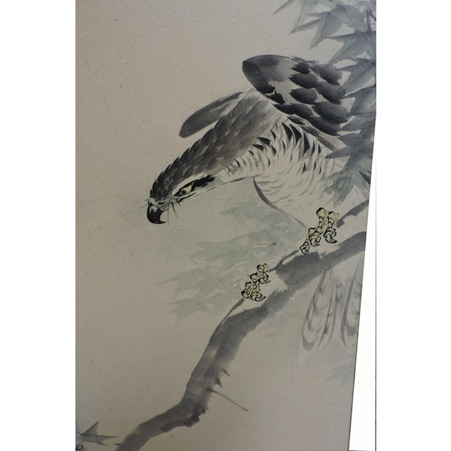 Pair of Hand Painted Japanese Panel Screens With Birds and Flowers For Sale - Image 9 of 13