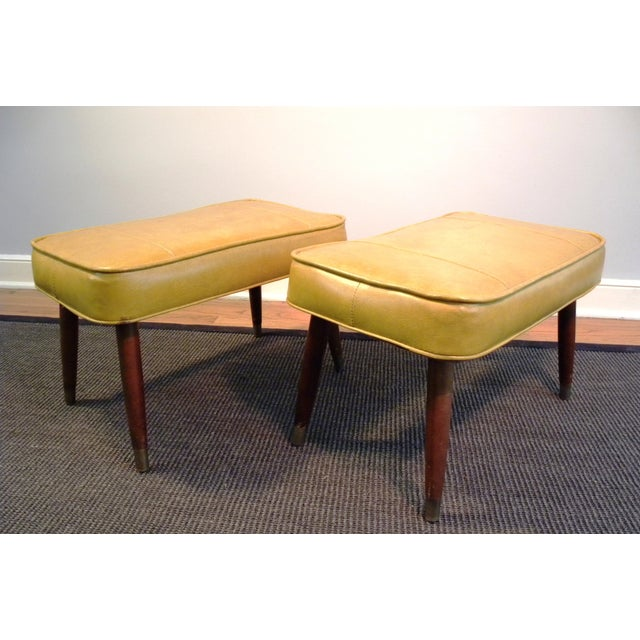 Vintage Mid-Century Gold Ottoman Footrests - Pair - Image 2 of 8