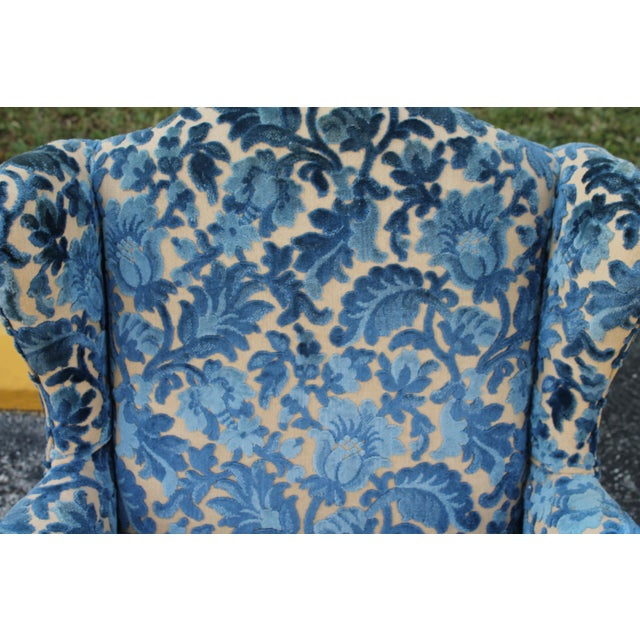Cut Crushed Velvet Wingback Chairs - A Pair For Sale - Image 9 of 10