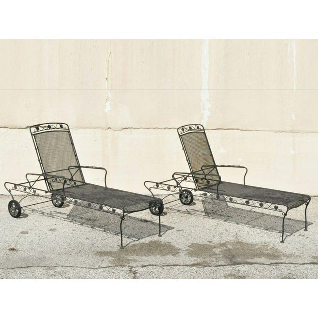 Vintage Mid Century Russell Woodard Patio Garden Reclining Wrought Iron Chairs- a Pair For Sale - Image 13 of 13