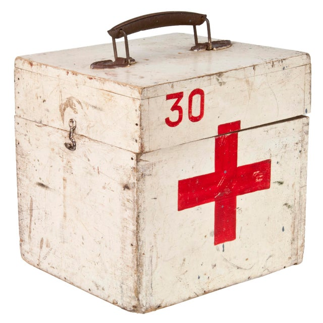 Vintage French Wood First Aid Box - Image 2 of 5