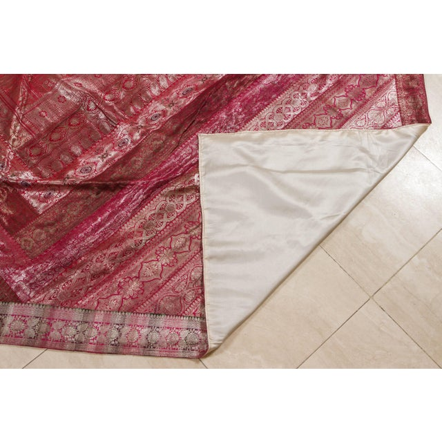 Indian Silk Sari Tapestry Quilt Patchwork Bedcover Fuchsia Color For Sale - Image 9 of 10