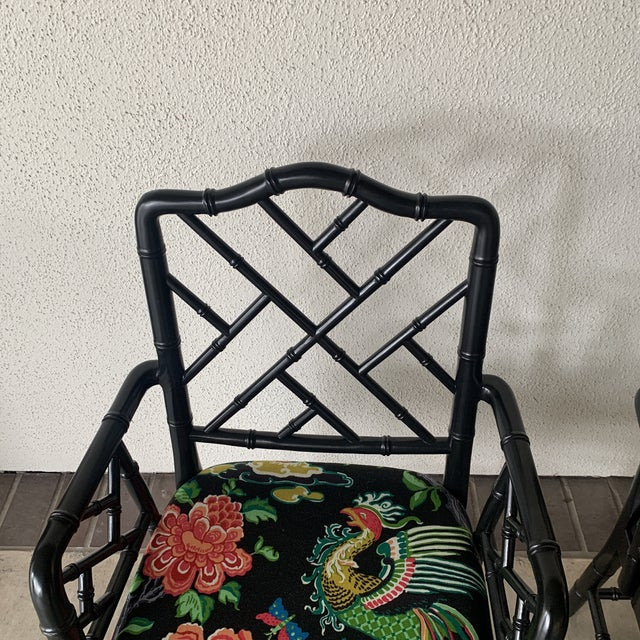 Wood Black Bamboo Chairs- a Pair For Sale - Image 7 of 13