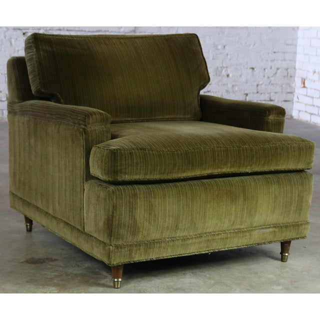 Deep Green Velvet Lawson Style Vintage Club Chair Mid Century Modern - Image 11 of 11