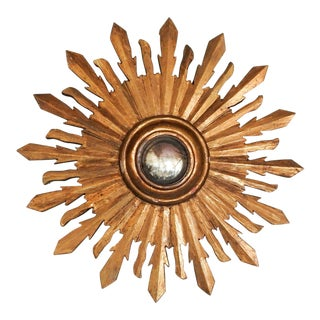 Carved Giltwood Sunburst Convex Mirror