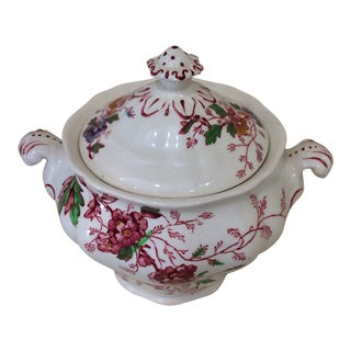 "Vintage Sugar Bowl With Lid by Booths China Made in England ""Washington"" Pattern For Sale"