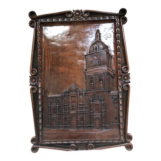 Hand Carved Wood Plaque of Basilica San Francisco in La Paz For Sale
