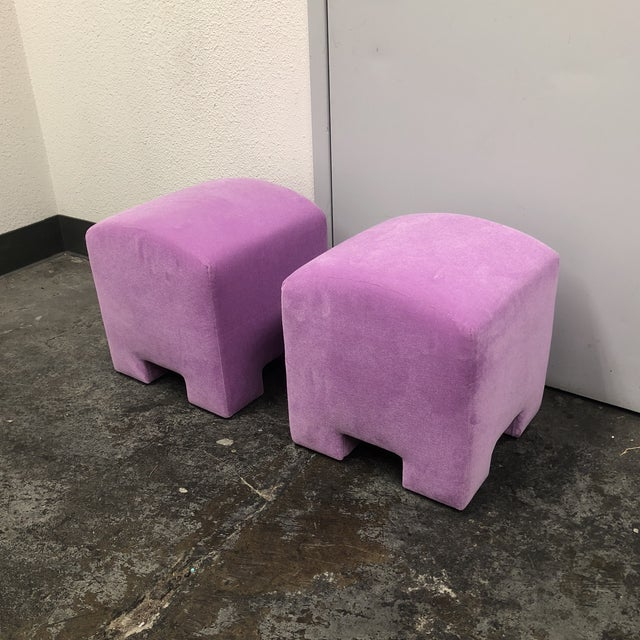 Design Plus Gallery has a pair of custom designed ottoman stools by Gulassa & Co. Each stool has a arch surface with tight...