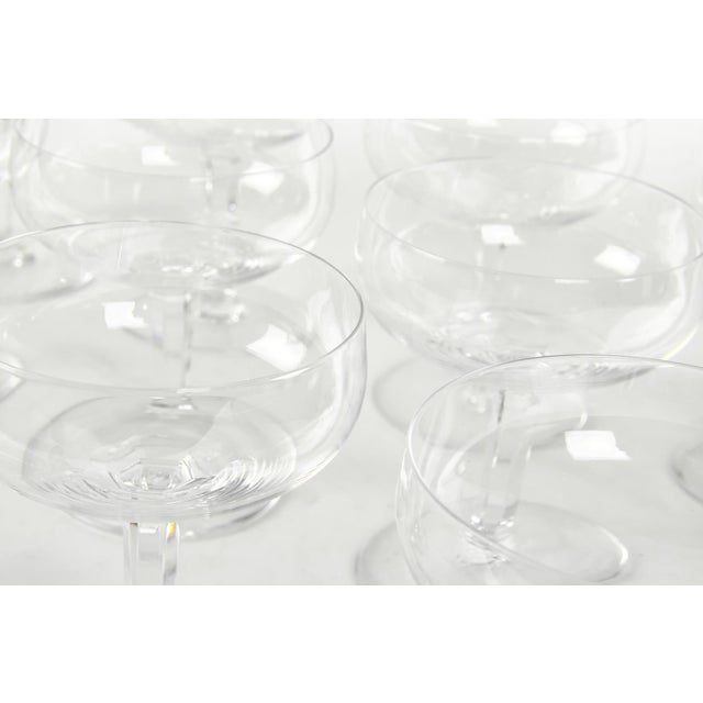 Vintage Set 12 Baccarat Crystal Champagne Coupes For Sale In New York - Image 6 of 7