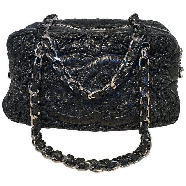 Chanel Black Quilted and Ruched Leather Shoulder Bag Shopping Tote For Sale - Image 12 of 12