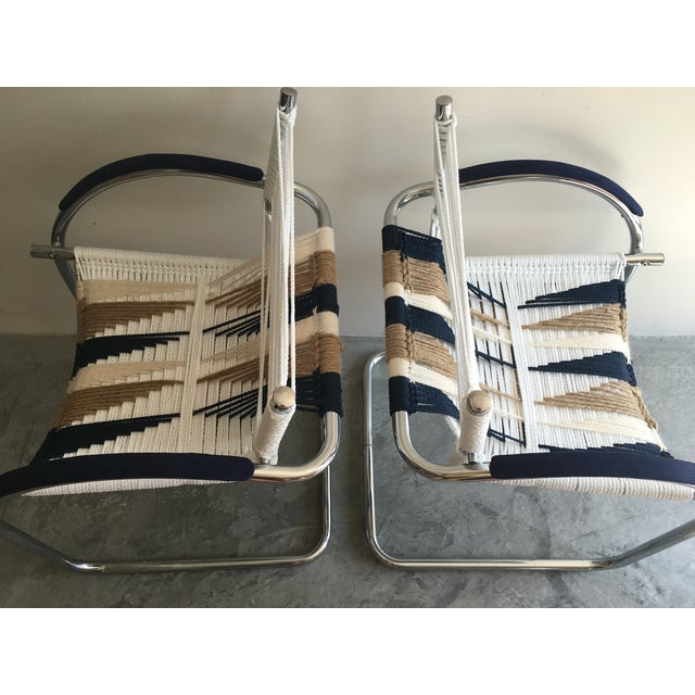 Upcycled Chrome Macrame Chairs - Pair - Image 5 of 6