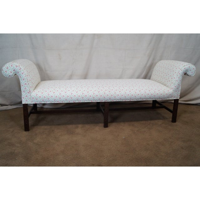 An antique, mahogany, Chippendale, six leg window bench that is approximately 150 years old and was made in America. A...