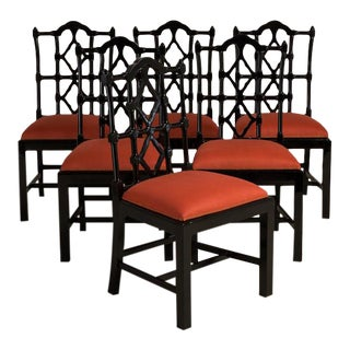 Set of Six Gloss Ebonised Framed Asian Modern Dining Chairs, 1960s For Sale