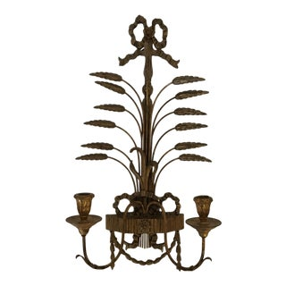 Carved Gilt Wood and Tole Italian Candle Sconce