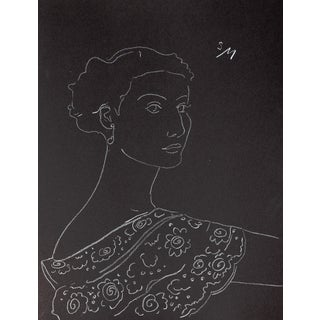 """Lady With a Lace Collar"", White Charcoal Drawing by Sarah Myers Preview"