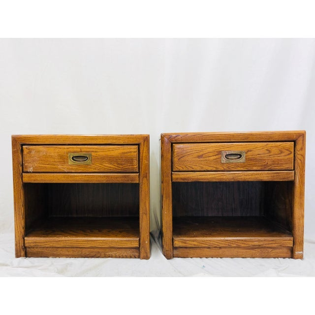 Pair Vintage Campaign Style Side Tables For Sale - Image 13 of 13