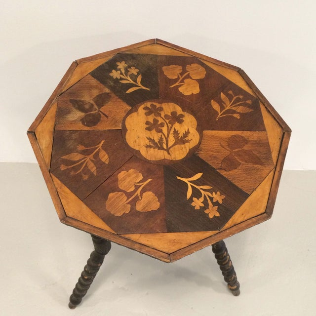 Wooden Inlay Side Table - Image 3 of 6