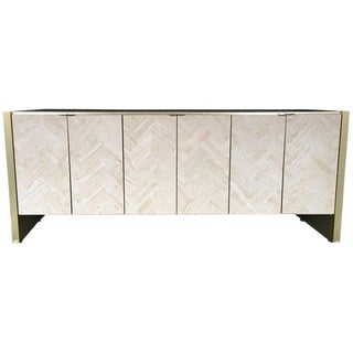 Ello Style Travertine Buffet Credenza For Sale