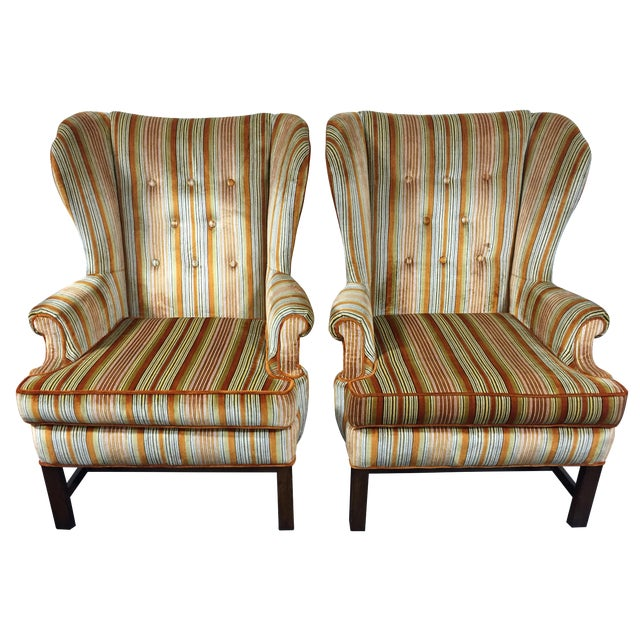 Vintage Mid-Century Tufted Wing Back Chairs - Pair - Image 1 of 11