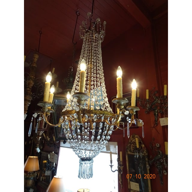 19th Century Italian Crystal and Iron Chandelier For Sale - Image 12 of 13