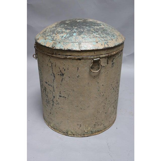 Asian Metal Grain Drum For Sale - Image 3 of 6