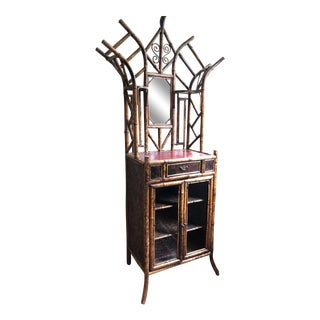 19th Victorian Bamboo & Japanned Lacquer Hall Stand Cabinet For Sale