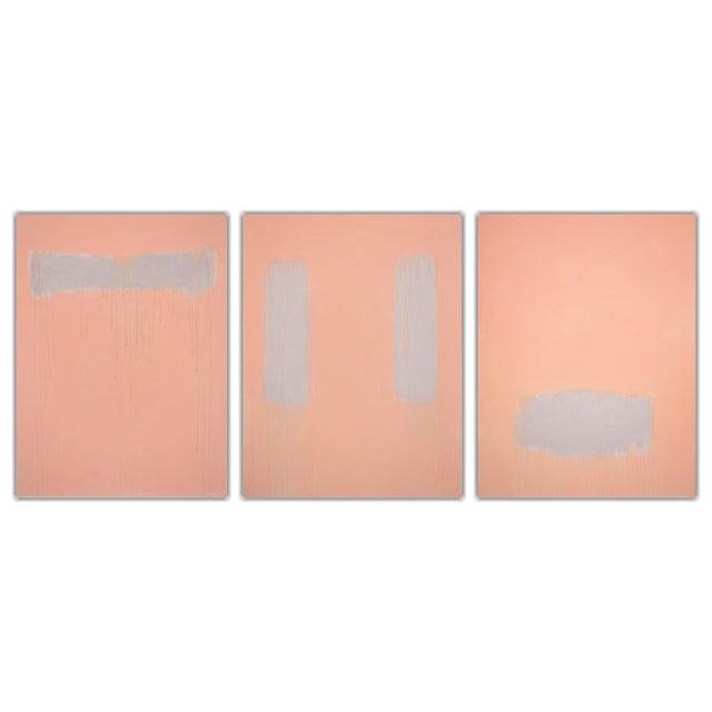 """""""Peachy"""" Large Contemporary Abstract Triptych Painting by Stephen Remick For Sale"""