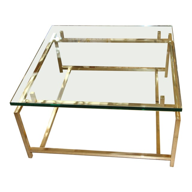 Vintage Brass Cocktail Table For Sale