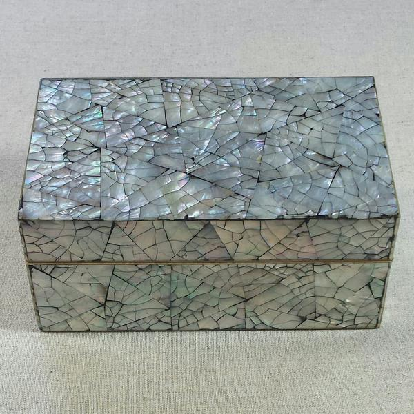 Vintage natural abalone shell mosaic decorative box with a pale grey velvet interior and bottom. A stunning piece, would...