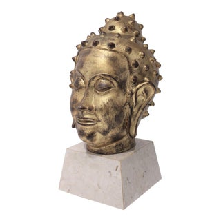 Mid-Century Buddha Thai Style Gold Leafed Terra Cotta on Marble Stand For Sale