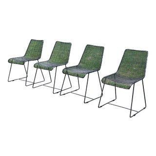 "Cb2 Minimalist ""Reed"" Live Wire Chairs - Set of 4 For Sale"