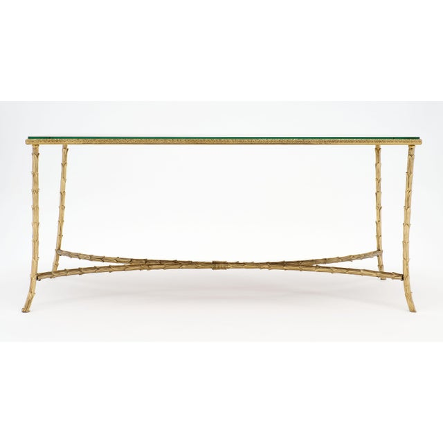 Metal Maison Charles Gold Leaf Glass Top Brass Coffee Table For Sale - Image 7 of 10