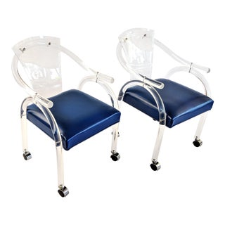 Charles Hollis Jones Style Lucite Chairs - a Pair For Sale