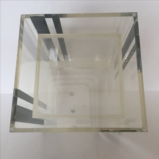 Lucite Ice Bucket With Mirrored Accents For Sale - Image 5 of 8