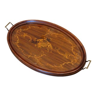 1920s Antique Marquetry Mahogany Wood Serving Tray For Sale
