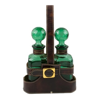 Mid-Century 1960s Leather Case Tantalus With Two Glass Decanters For Sale