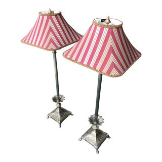 Vintage Frederick Cooper Candlestick Lamps With Red Silk Stripe Shades