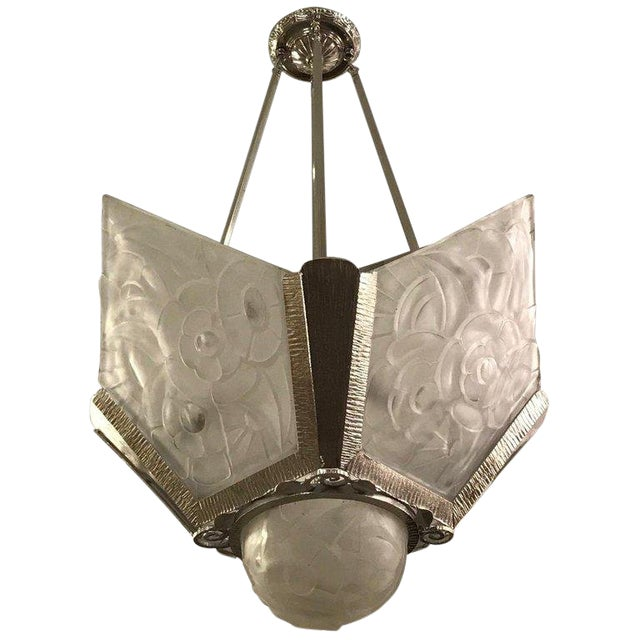 French Art Deco Floral Chandelier Signed by Degué For Sale