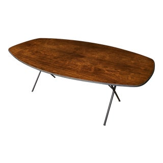 Rosewood Elliptical Dining Table Oval Conference Table Black Metal Legs - Mid Century Modernist Minimalist George Nelson Attributed For Sale