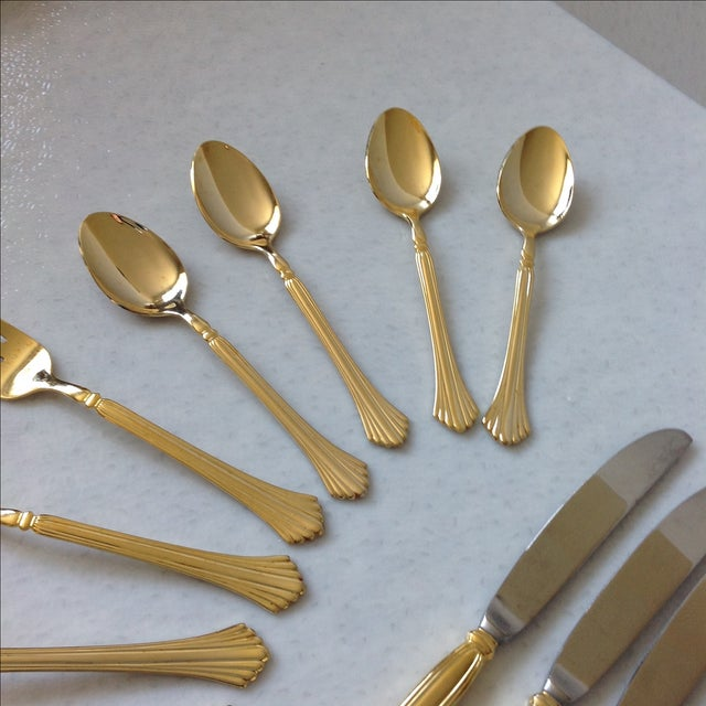 Gold Tone Flatware by Cambridge - Set of 20 For Sale - Image 4 of 7