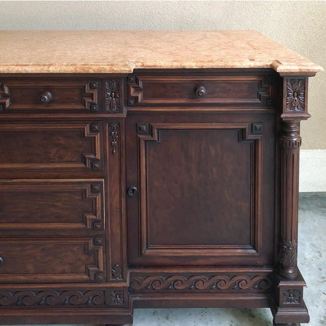 19th Century French Louis XVI Mueche Mahogany Marble Top Dresser ~ Cabinet Benchmade from prized mueche mahogany, this...