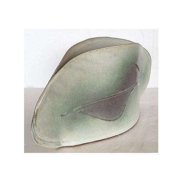 White & Green Art Pottery Glazed Vase For Sale - Image 4 of 7