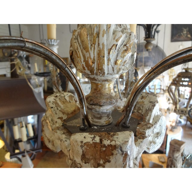 19th Century Italian Wood and Iron Chandelier For Sale - Image 4 of 11