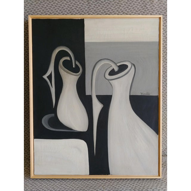 A vintage oil on canvas painting of abstracted bottle forms in shades of grey. Signed Hamilton. Painting does have some...