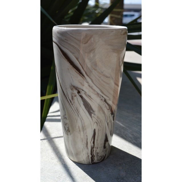 1980s Marbled White & Brown Vase For Sale - Image 5 of 5